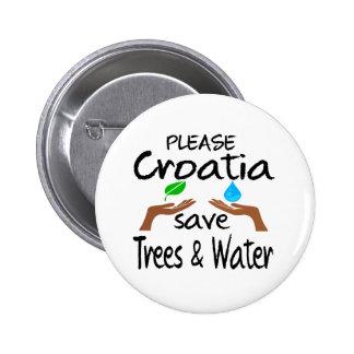 Plz Croatia Save Tree & Water Button