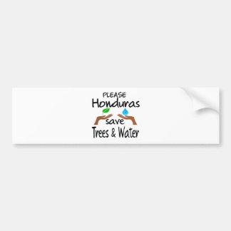 Plz Honduras Save Tree & Water Car Bumper Sticker