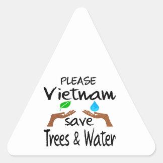 Plz Vietnam Save Tree & Water Triangle Sticker
