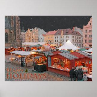 Plzen - luces del mercado del navidad - HH Póster
