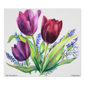 PMACarlson Tulips With Spring Flowers Poster