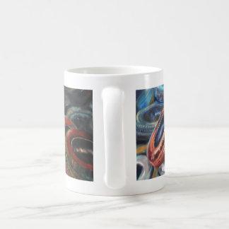 pneumatic tyres on fire coffee mug