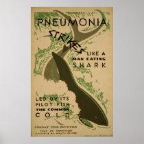 Pneumonia Strikes Like A Man Eating Shark Vintage