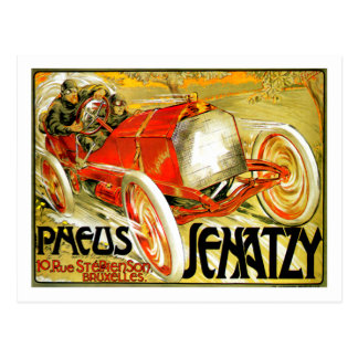 Pneus Tires ~ Senatzy Car Race Brussels Poster Postcard