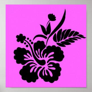 png_69-flowers- Hawaiian Hibiscus Flower Black Print