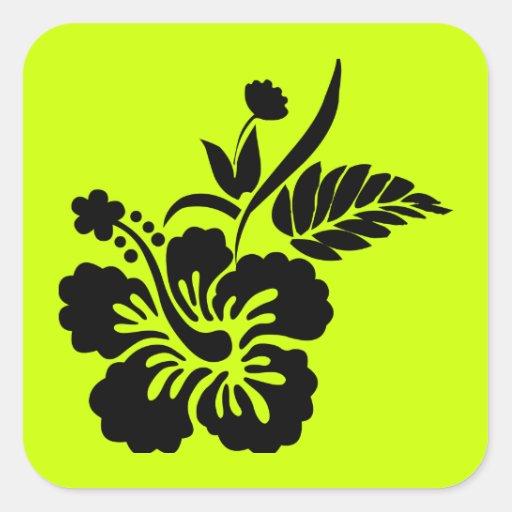 png_69-flowers- Hawaiian Hibiscus Flower Black Sticker