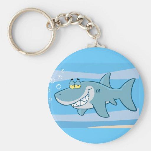 png_cartoon-shark-underwater Funny blue fish Keychain