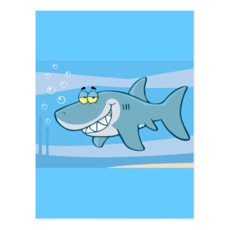 png_cartoon-shark-underwater Funny blue fish Postcard
