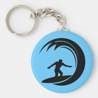 png_vacation06_112607 Surfing Dude Basic Round Button Keychain