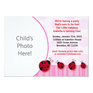 Pnk Ladybug Photo Birthday Invitations