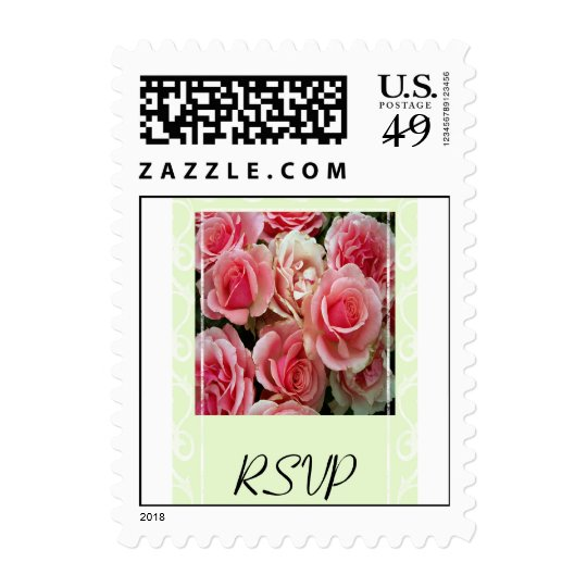 Pnk Roses On Green RSVP Postage