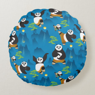 Po and Bao Blue Pattern Round Pillow