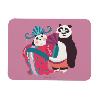 Po and Mei Mei Rectangular Photo Magnet