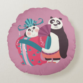 Po and Mei Mei Round Pillow