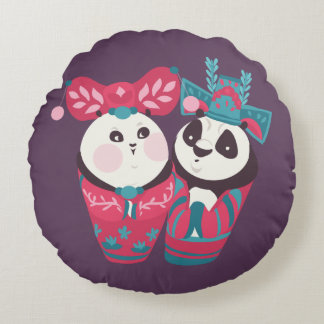 Po Ping and Mei Mei Round Pillow