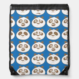 Po Ping Blue Pattern Drawstring Backpack
