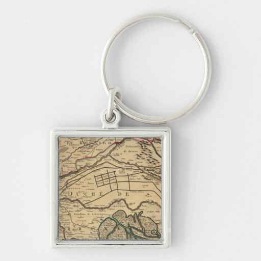 Po River Valley engraved map Silver-Colored Square Keychain