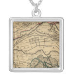 Po River Valley engraved map Square Pendant Necklace