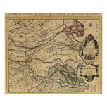 Po River Valley engraved map Poster