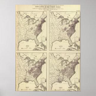 Población 1790-1820 de los E.E.U.U. Póster