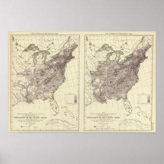 Población 1830-1840 de los E.E.U.U. Póster