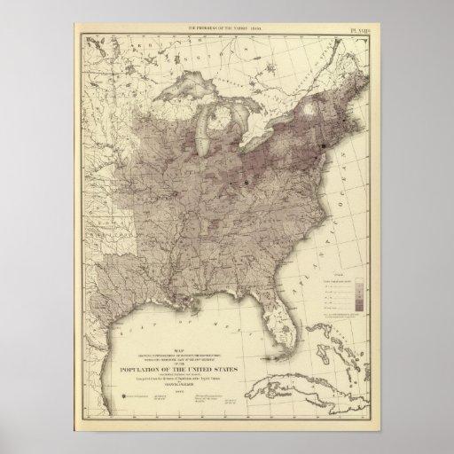 Población 1860 de los E.E.U.U. Póster