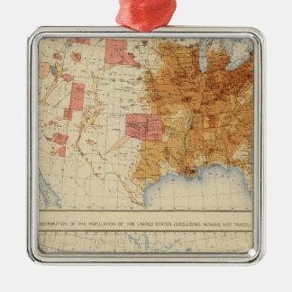 Población 5 1870, 1880 adorno navideño cuadrado de metal