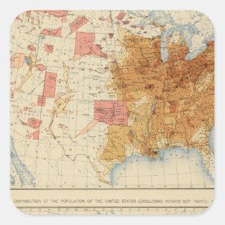 Población 5 1870, 1880 pegatina cuadrada