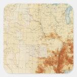 Población coloreada 10 1890 pegatina cuadrada