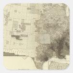 población del codificado por color por los condado calcomania cuadrada personalizada