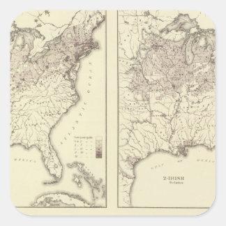 Población irlandesa y alemana 1870 calcomanías cuadradass personalizadas