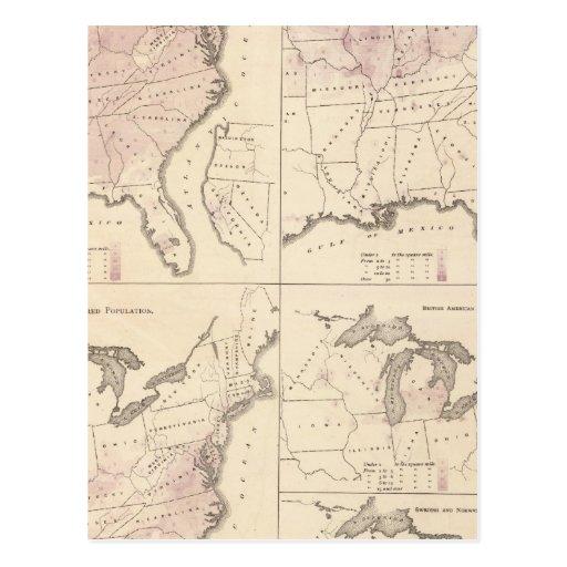 Población y densidad - censo 1870 de Estados Postal