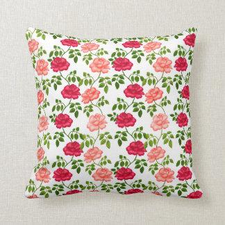 Poca almohada inglesa de los rosas de té