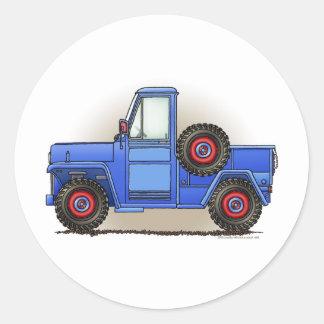 Poca camioneta pickup de cuatro ruedas etiquetas redondas