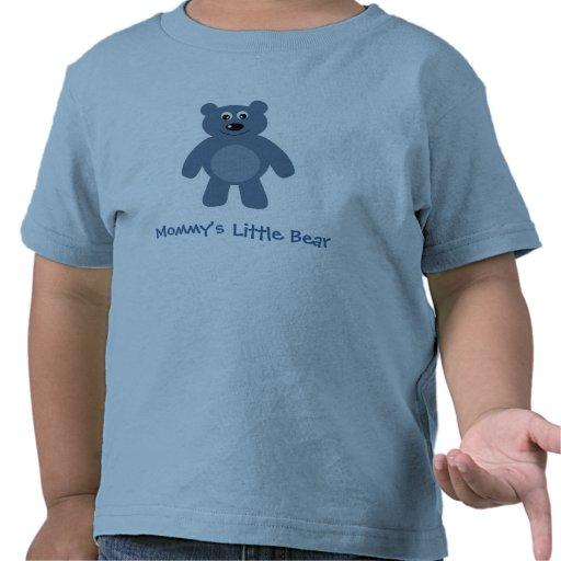 Poca camiseta del azul del oso de la mamá linda