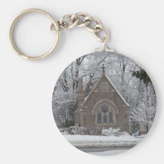 Poca capilla del invierno en camino llavero redondo tipo pin