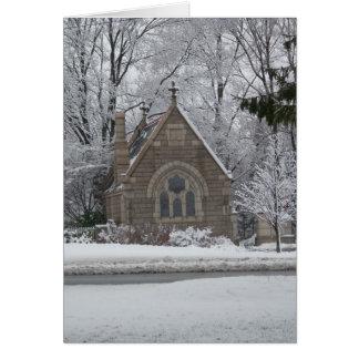 poca capilla en invierno tarjeta de felicitación