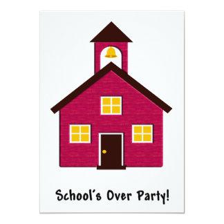 """Poca escuela roja de la escuela sobre el fiesta invitación 5"""" x 7"""""""