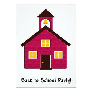 """Poca escuela roja de nuevo al fiesta de la escuela invitación 5"""" x 7"""""""