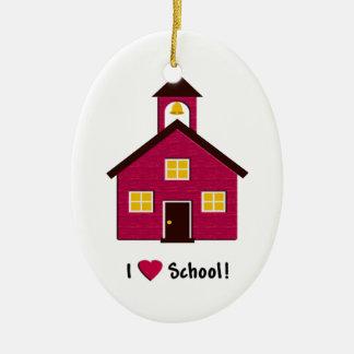 Poca escuela roja del amor de la casa I de la Adorno Navideño Ovalado De Cerámica