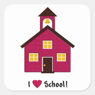 Poca escuela roja del amor de la casa I de la Pegatina Cuadrada