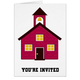 Poca escuela roja invitada tarjeta de felicitación