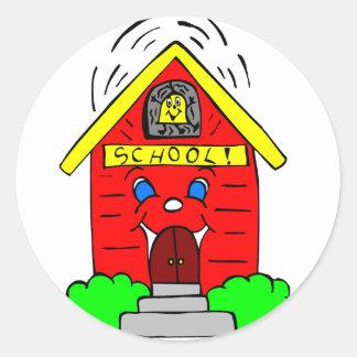 Poca escuela roja pegatina redonda