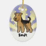 Poca estrella Airedale Terrier/Terrier galés Adorno Ovalado De Cerámica