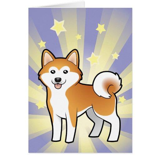 Poca estrella Akita Inu/Shiba Inu Tarjeta De Felicitación