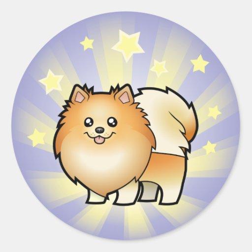 Poca estrella Pomeranian Etiquetas Redondas