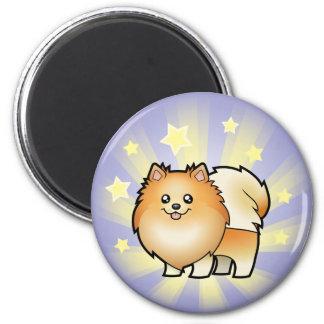 Poca estrella Pomeranian Imán Redondo 5 Cm