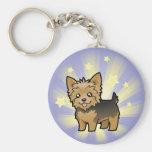 Poca estrella Yorkshire Terrier (pelo corto ningún Llavero Redondo Tipo Pin