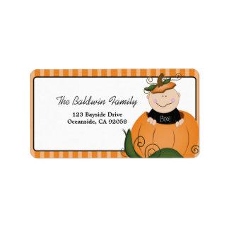 Poca etiqueta de dirección de Halloween del bebé