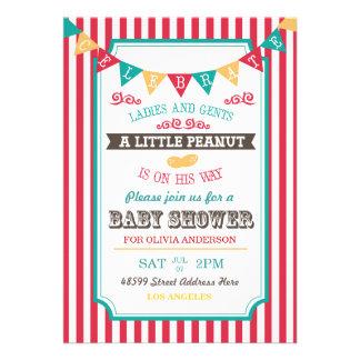 Poca fiesta de bienvenida al bebé del circo del ca invitaciones personalizada